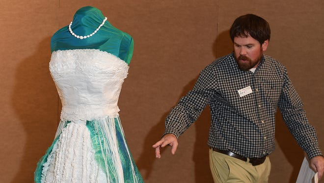 """Jeffrey Richardson, curator of exhibits at the Farmington Museum, talks about """"Jellyfish Dress,"""" which is part of the """"ReDress: Upcycled Style by Nancy Judd"""" exhibition at the Farmington Museum at Gateway Park."""