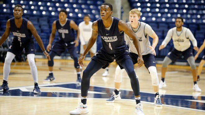 Edmond Sumner and his teammates during first day of practice for Xavier basketball Monday October 3, 2016 at the Cintas Center.