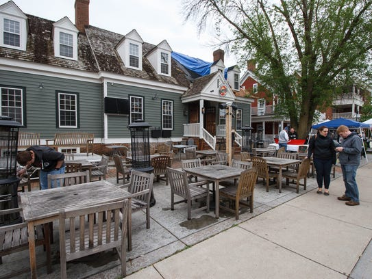The patio at Revere's Well Street Tavern was quiet