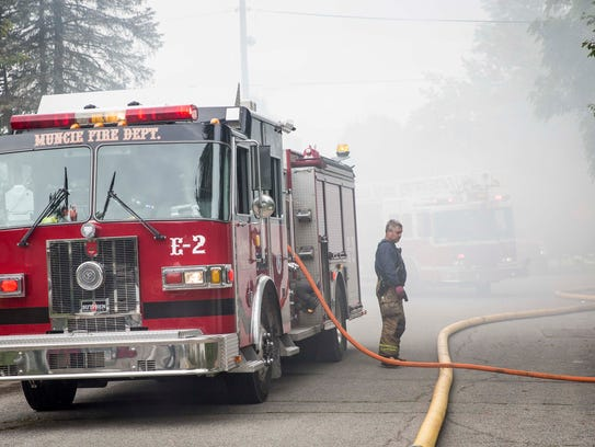 Fire crews were called to a garage fire in the 1800