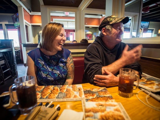 From left, Lynnea Nichols of Montpelier and James Pocock