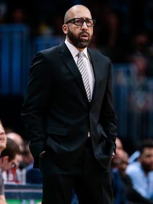 Nov 24, 2017: Memphis Grizzlies head coach David Fizdale in the first quarter against the Denver Nuggets at the Pepsi Center.