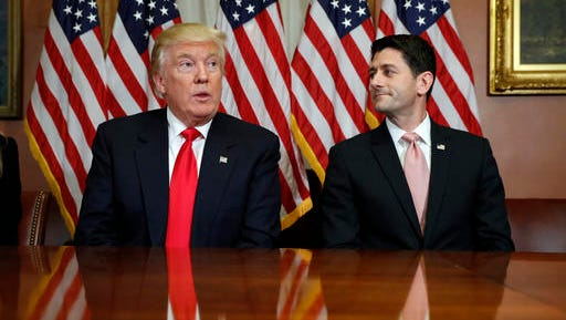 In this Nov. 10, 2016, photo, President-elect Donald Trump and House Speaker Paul Ryan of Wis., pose for photographers after a meeting in the Speaker's office on Capitol Hill in Washington. Washington's new power trio consists of a bombastic billionaire, a telegenic policy wonk, and a taciturn political tactician. How well they can get along will help determine what gets done over the next four years, and whether the new president's agenda founders or succeeds.