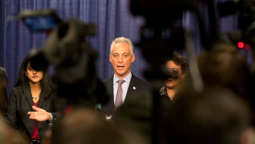 """FILE - In this Jan. 13, 2017, file photo, Chicago Mayor Rahm Emanuel answers questions during a news conference in Chicago after the the U.S. Justice Department issued a report on civil rights abuses by the Chicago Police Department. In a tweet Tuesday night, Jan. 24, 2017, President Donald Trump said he's ready to """"send in the Feds"""" if Chicago can't reduce its homicide figures."""