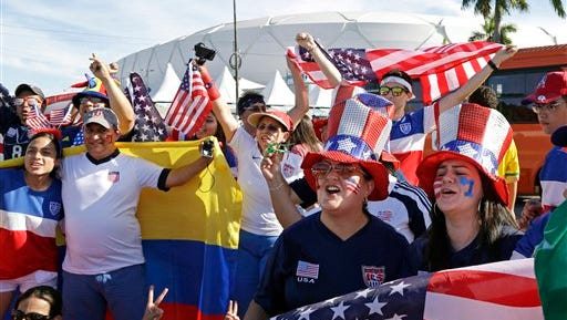 US fans arrive for the group G World Cup soccer match between the USA and Portugal at the Arena da Amazonia in Manaus, Brazil, Sunday, June 22, 2014. (AP Photo/Themba Hadebe)