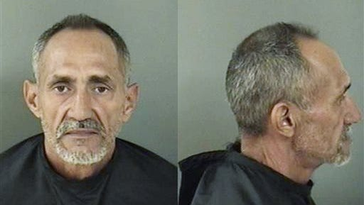 This booking photo made available by the Indian River County Sheriff's Office, Fla., shows Rene Herrera Cruz. Cruz, who was arrested Monday in the stabbing death of Kevin Adorno, 28, of Connecticut, is charged with first-degree murder. Adorno was biking from Maryland to Miami to propose to his girlfriend when he was stabbed outside a McDonald's restaurant in Vero Beach, Fla., on Monday.