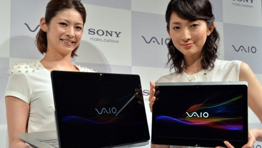 This file picture taken on Oct. 8, 2013, shows Japanese electronics giant Sony's then-new ultrabook computer Vaio Fit.