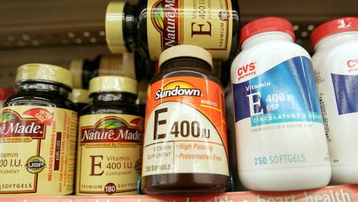 Bottles of Vitamin E are seen at a pharmacy in  2004 in New York City.