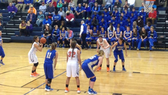 South Gibson's Sarah Grace Scott shoots a free throw during Monday's 48-39 win over Huntingdon at SGC.
