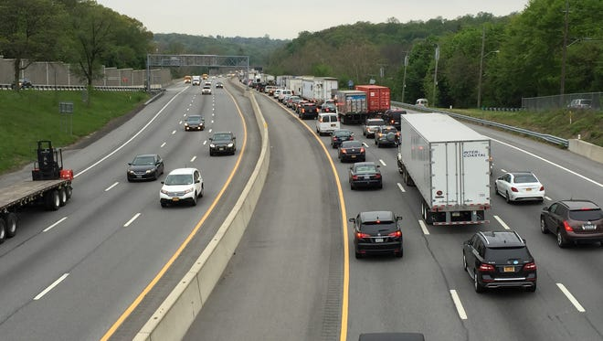 Westbound Interstate 287 is a parking lot for drivers heading toward the Tappan Zee Bridge. This is traffic as seen from the Route 22 overpass in White Plains, Friday, May 13, 2016 around 11:15 a.m. after a 9 a.m. tractor-trailer rollover on the Tappan Zee Bridge.