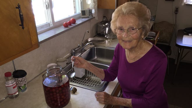 Hedy Steinbart, 92, of Lansing, has been making cherry-infused vodka for decades. It has become a staple at family gatherings. Her grandson, Kyle Miller, turned it into a national brand that launched in Michigan in June.