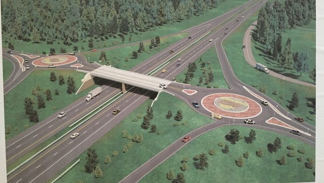 This picture of a rendering shows what the N. Territorial over pass over U.S. 23 will look like after it is reconstructed with roundabouts.