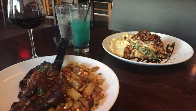 We ordered Red Seven's Cowboy Angus Ribeye and its Bruschetta Chicken Medallions. The chili-rubbed steak could do without the tomato balsamic jam slathered on top of it, while the chicken was wonderful and filling.
