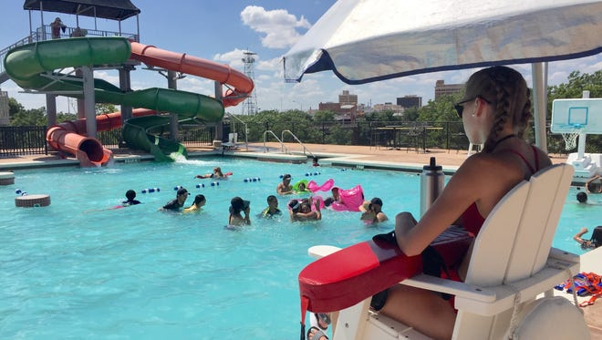 Lifeguard Skylar Smith on duty at San Angelo's Love Municipal Pool in 2017.