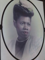 A 1940s-era photo of Vernice Warfield on display in