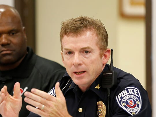 Lafayette Police Department Chief Patrick Flannelly joins the discussion at monthly Diversity Roundtable on Sept. 4, 2014.