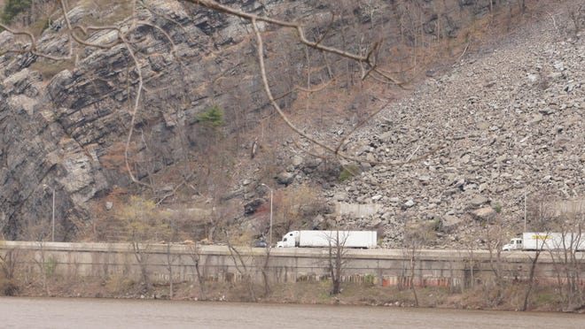 A part of Interstate 80 where NJ Department of Transportation wants to blast away rock and erect barriers to prevent against rocks falling is seen in this April 2020 file photo