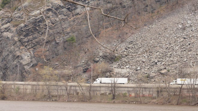 The area of the S-curve of Interstate 80 when the state DOT is proposing a $60 million project to reduce rockfall incidents is seen in this April photo.