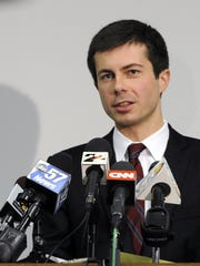South Bend Mayor Peter Buttigieg speaks to reporters on Monday March 18, 2013 in South Bend, Ind.