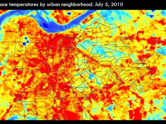 How temperature varies in Louisville by location.