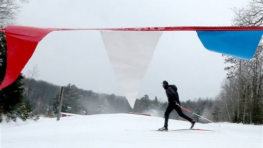 In this Wednesday, Jan. 14, 2015, photo, U.S. Paralympic Nordic Skiing Team member Omar Bermejo, of Grand Rapids, Mich., practices prior to the 2015 International Paralympics competition at Telemark Resort in Cable, Wis. (AP Photo/Wisconsin State Journal, John Hart)