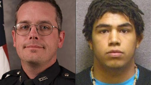 This combination made with file photos provided by the Madison, Wis. police department and Wisconsin Department of Corrections shows Madison Police officer Matt Kenny, left, and Tony Robinson, a biracial man who was killed by the officer. Kenny shot the unarmed 19-year-old in an apartment house on March 6.