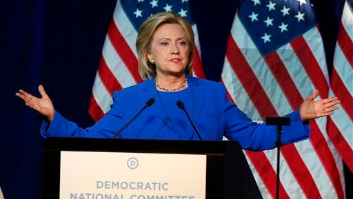 In this Aug. 28, 2015 file photo, Democratic presidential candidate, Hillary Rodham Clinton, addresses the summer meeting of the Democratic National Committee in Minneapolis. The State Department made public roughly 7,121 pages of Clinton's emails late Monday night, including 125 emails that were censored prior to their release because they contain information now deemed classified. The vast majority concerned mundane matters of daily life at any workplace: phone messages, relays of schedules and forwards of news articles.(AP Photo/Jim Mone)