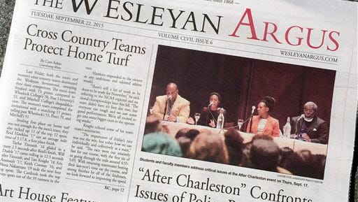 The Wesleyan Argus student newspaper is displayed Thursday, Sept. 24, 2015, on the campus of Wesleyan University in Middletown, Conn. The student government for the liberal arts school is weighing a petition to strip The Argus of funding after some objected to an opinion piece it published on the Black Lives Matter movement.