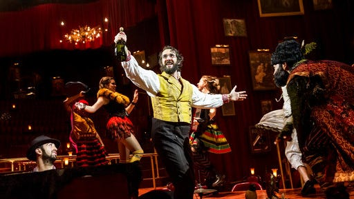"This image released by Matt Ross Public Relations shows Josh Groban during a performance of ""Natasha, Pierre & the Great Comet of 1812,"" in New York. The musical that dramatizes a 70-page melodrama at the center of Leo Tolstoy's ""War and Peace,"" earned a leading 12 Tony Award nominations on Tuesday, May 2, 2017."