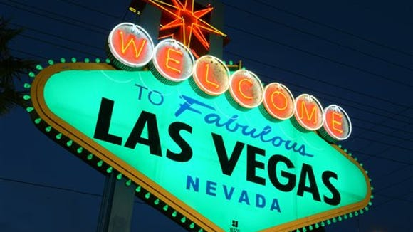 In this March 13, 2014 photo provided by the Las Vegas News Bureau, shows the iconic Welcome to Fabulous Las Vegas sign that went green for the St. PatrickÂ?s Day holiday. The move is part of the 'Global Greening' initiative led by Tourism Ireland. Other landmarks that are going green for the holiday include the Leaning Tower of Pisa, Niagara Falls, the Sydney Opera House, the London Eye and the Pyramids of Giza. (Photo/Las Vegas News Bureau, Brian Jones)