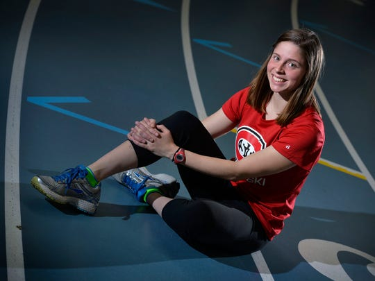 In this St. Cloud Times file photo, then-freshman Maria Hauer poses as a runner on the track and field team. Hauer, now 24, graduated from St. Cloud State in 2018 and is among 10 named plaintiffs in a Title IX suit against the school, which was under appeal in late 2019.
