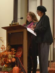 The Rev. Bridget Flad Daniels, left, and Rabbi Shaina Bacharach give the closing blessing at the annual interfaith Thanksgiving worship service at St. Mary of the Angels Parish in Green Bay on Nov. 24, 2015. Flad Daniels will give the reflection at JOSHUA's 2016 Solidarity Celebration on Jan. 14 at St. Matthew Catholic Church in Allouez.