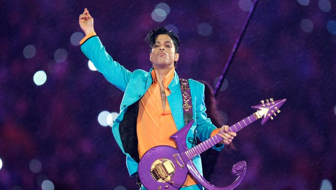 Prince at halftime show at the Super Bowl in 2007 in Miami.