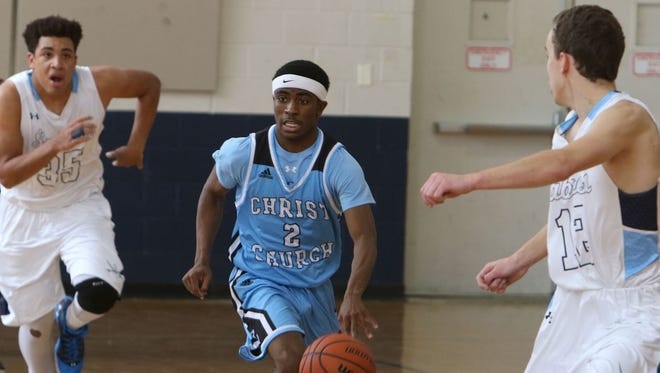 Kojack Thompson (2) leads the fast break for Christ Church, the No. 1-ranked Class A boys team.