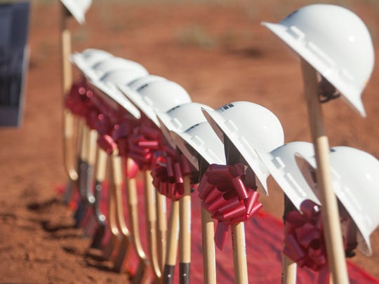 Developers and St. George City officials break ground for the new Smith's grocery store near Mall Drive and Riverside Drive Wednesday, July 6, 2016.