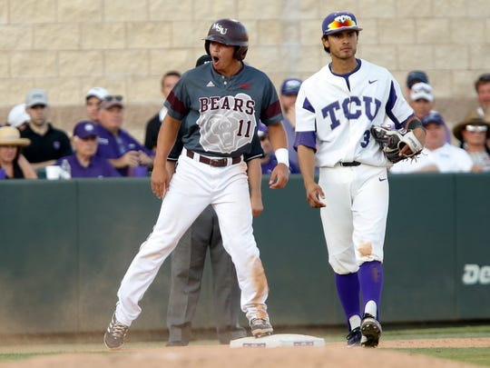 Jeremy Eierman reacts after reaching third during the MSU Bears game against the TCU Horned Frogs in the first game of the Super Regional at Lupton Stadium in Fort Worth, TX on Saturday, June 10, 2017.