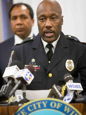 Wilmington Police Chief Bobby Cummings announces the