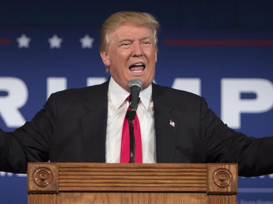 Republican presidential hopeful Donald Trump speaks Tuesday at his South Carolina Campaign Kickoff Rally in Bluffton, S.C.