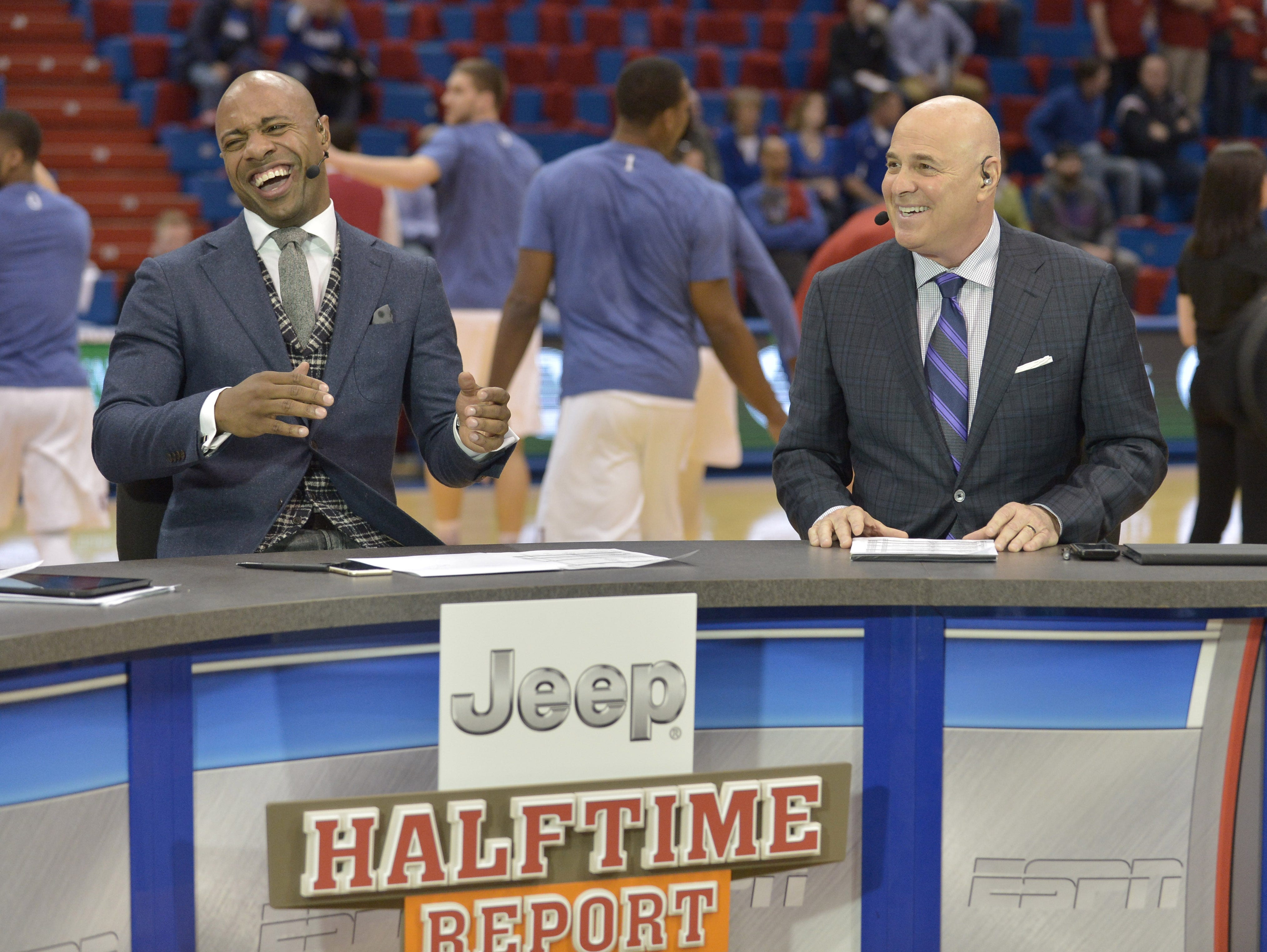 Jan 30, 2016; Lawrence, KS, USA; ESPN commentators Jay Williams and Seth Greenberg (left to right) talk before the game between the Kansas Jayhawks and Kentucky Wildcats at Allen Fieldhouse. Mandatory Credit: Denny Medley-USA TODAY Sports