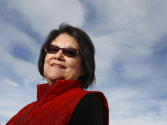 Elouise Cobell during a celebration in Browning Saturday.