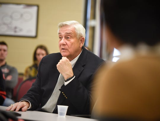 John Thein answers questions from Rocori School Board