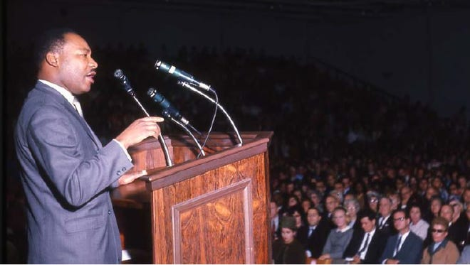 Almost 50 years ago, Martin Luther King, Jr. addresses a crowd estimated at 2,600 people at what is now Boylan Gymnasium at Monmouth University in West Long Branch.