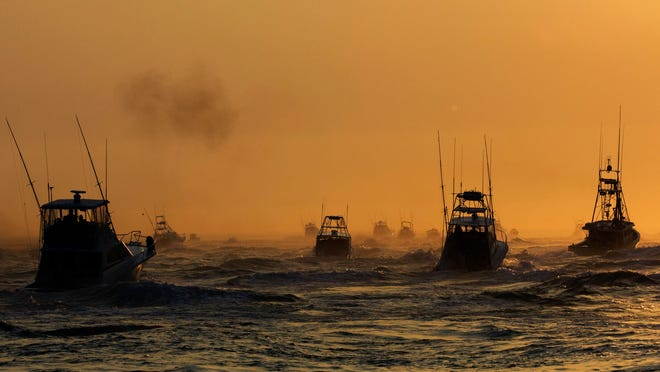 Eastern Long Island has long been a destination for sportfishing. In this file photo, boats take off at the start of the 22nd Annual Star Island Yacht Club Shark Tournament, June 14, 2008 in Montauk.