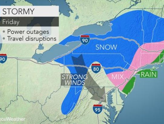 Rain, snow and wind are expected to make things messy