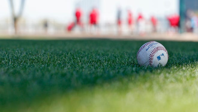 A ball in the grass of Goodyear, Arizona, during Reds spring training.