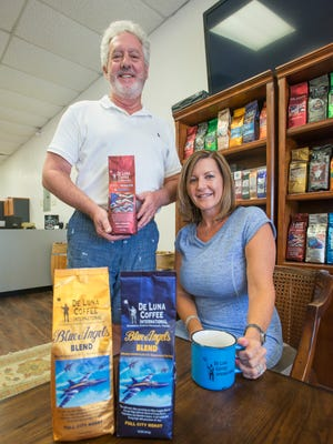 Owners Ed and Courtney Lemox at the De Luna Coffee Company in Pensacola on Monday, July 31, 2017.