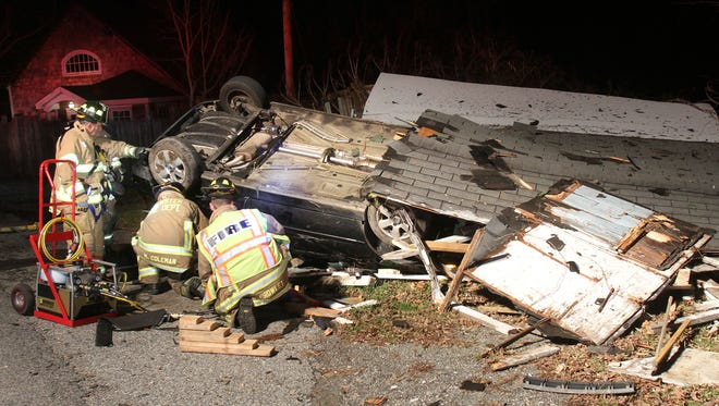 A car crashed into the Burdick Farm vegetable stand on Milltown Road in Southeast on Monday, Nov. 23, 2015.