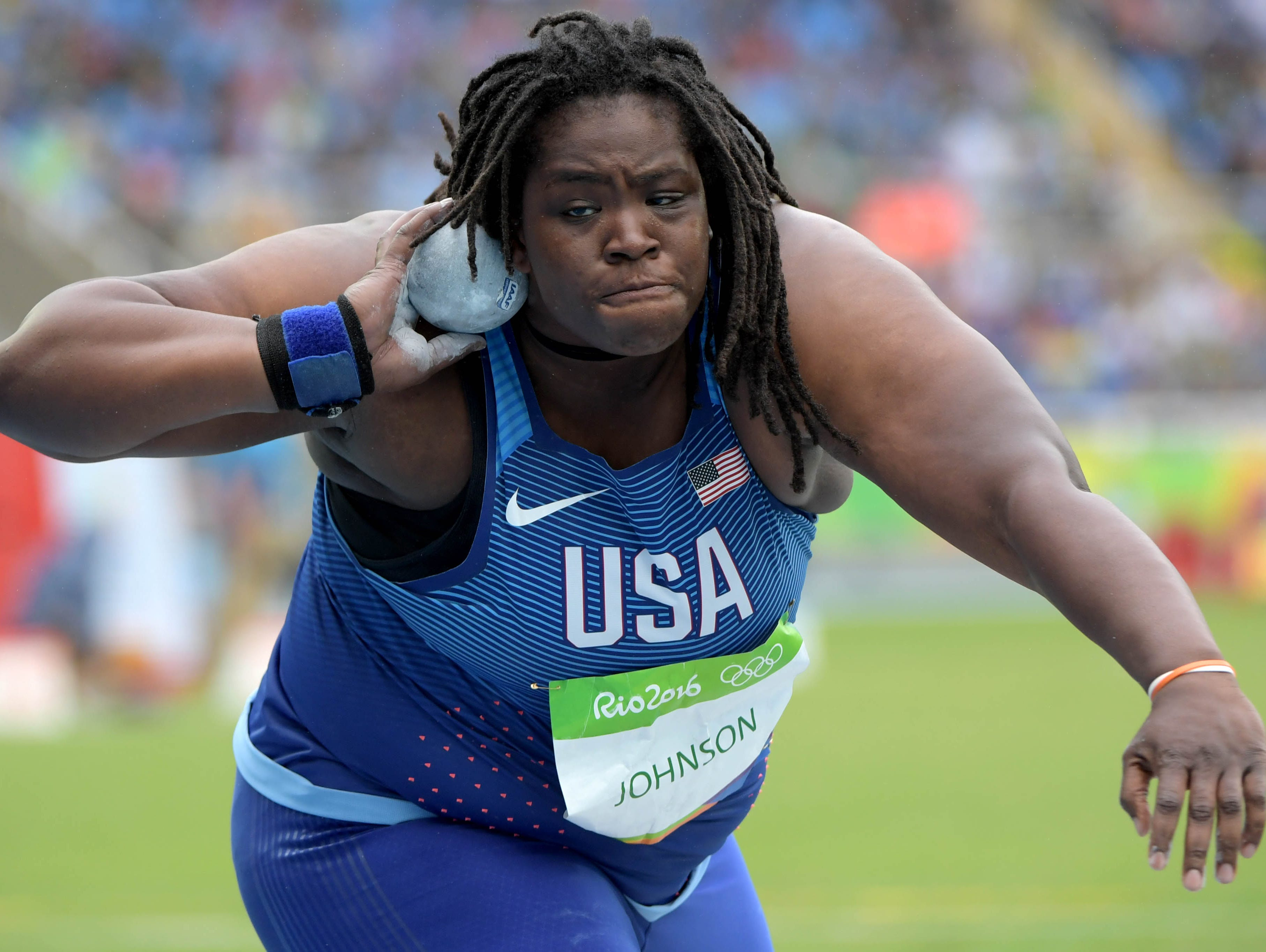 Felisha Johnson (USA) competes in the women's shot put event at Estadio Olimpico Joao Havelange in the Rio 2016 Summer Olympic Games.