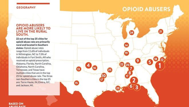 Top 25 cities with opioid abusers