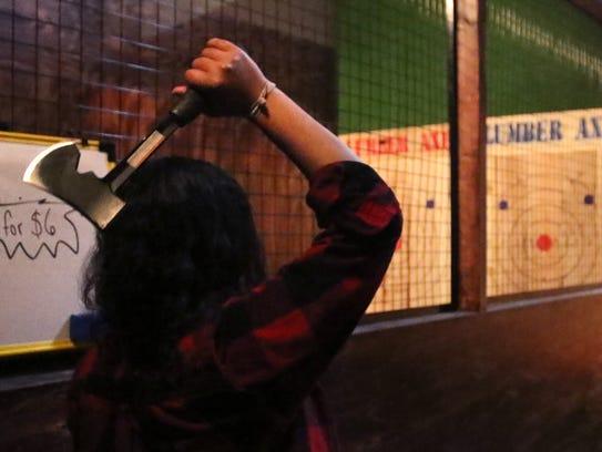 Axepert Angie Jones demonstrates the one-hand throw,